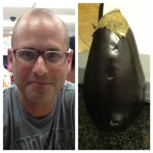 My husband, the produce expert (left) with recent acquisition